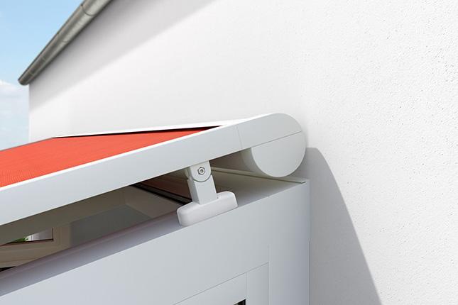 Kassette von Aufglasmarkise bzw. Terrassendachmarkise außenliegend