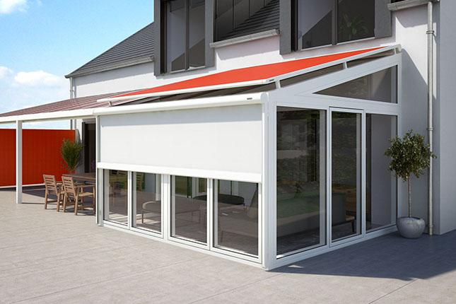 Aufglasmarkise bzw. Wintergartenmarkise und Vertikalkassettenmarkise bzw. Fenstermarkise